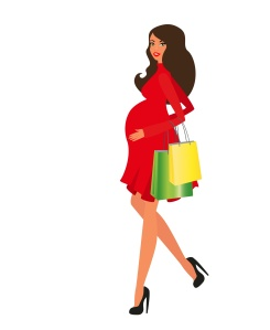 Pregnant lady shopping